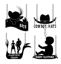 Different signboards of hats and clothes vector image
