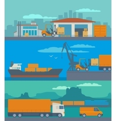 Logistic concept flat banner production process vector image vector image