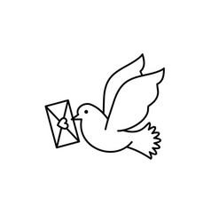 Post pigeon icon dove sign line art design vector