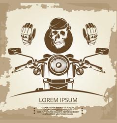 vintage moto club logo design skull vector image