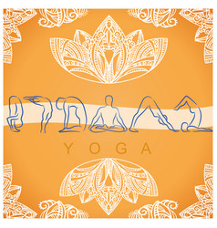 yoga poses background with symbols vector image