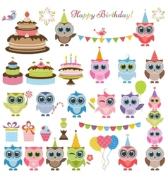 Birthday party set with owls and owlets vector image