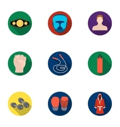 Boxing set icons in flat style Big collection of vector image vector image