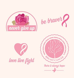 Breast cancer set of stickers Pink ribbon icon vector image