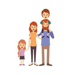 Colorful image caricature big family parents with vector