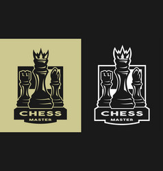 king bishop castle chess game emblem logo vector image vector image