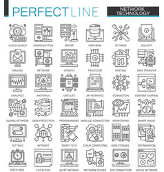 network technology outline concept symbols vector image