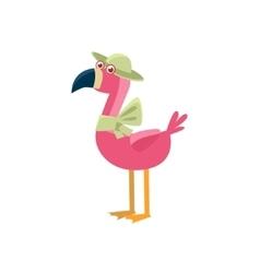 Pink Flamingo Wearing A Hat vector image vector image