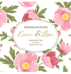 wedding invitation anemone sakura peony flowers vector image vector image