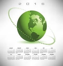 2016 calendar green globe dotted vector image vector image