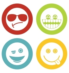 Emoji emoticons white icons vector image