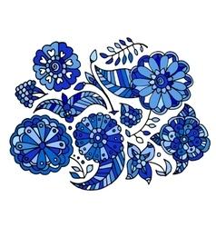 floral Gzhel pattern vector image