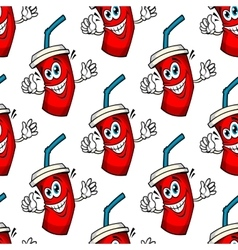 Funny cartoon takeaway soda seamless pattern vector image