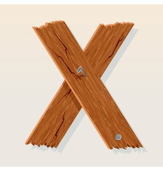 wooden letter x vector image