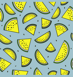 yellow slices of watermelon seamless pattern vector image