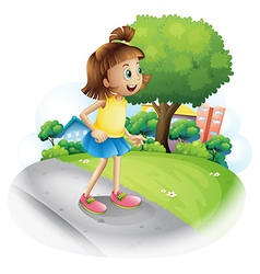 A young girl at the street vector image vector image