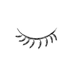 figure close vision eye with eyelashes style vector image vector image