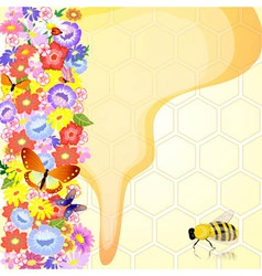 honey bees are the flowers vector image vector image