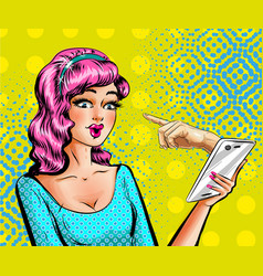pop art beautiful woman with smartphone vector image vector image