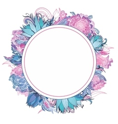 Tender Pink and Blue Floral Frame vector image