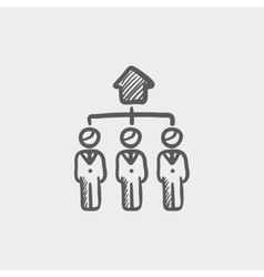 Three agent in one house sketch icon vector image vector image