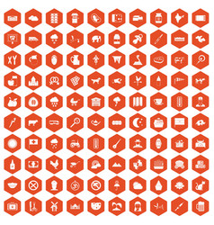 100 cow icons hexagon orange vector