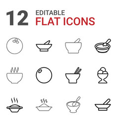 12 bowl icons vector image