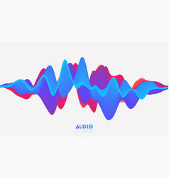 3d solid surface audio wavefrom abstract vector