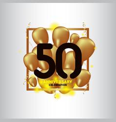 50 year anniversary black gold balloon template vector