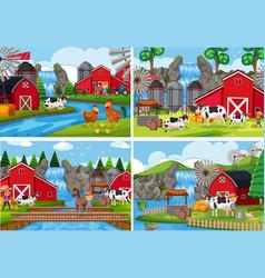 A set of rural farm landscape vector