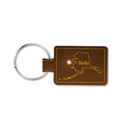 Alaska leather key fob vector
