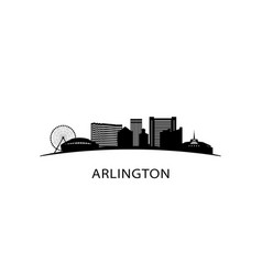 arlington city texas skyline black cityscape vector image