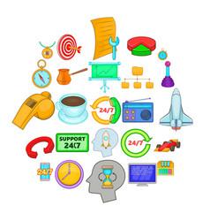 around the clock icons set cartoon style vector image
