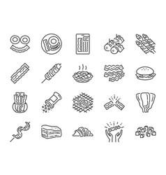 Bacon line icon set vector