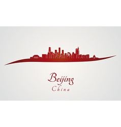 Beijing skyline in red vector