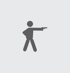 Black flat shooter shooting man icon vector