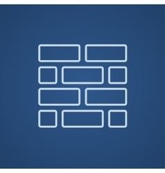 Brickwall line icon vector