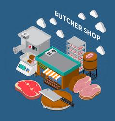 Butchers shop isometric background vector