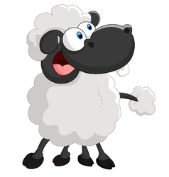 Cartoon cute sheep on white background vector