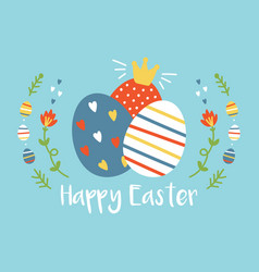cartoon easter greeting card with colorful eggs vector image