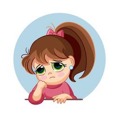 Cartoon sad girl face emotion vector