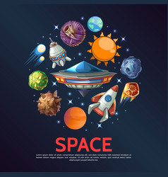 cartoon space round concept vector image