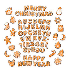 Christmas and new year text gingerbread alphabet vector