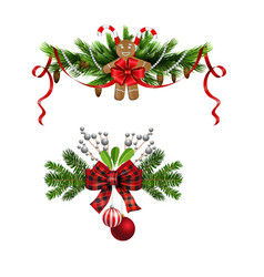 Christmas decorations with fir tree and vector