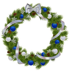 Christmas Wreath with Blue Decorations vector