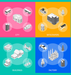 city map concept 3d isometric view vector image