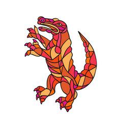 Crocodile prancing mosaic color vector