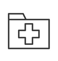 Cross sign on folder medical data or record icon vector