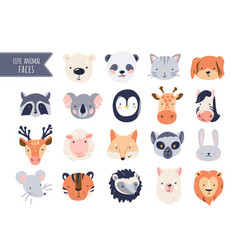 cute animal baby faces set vector image