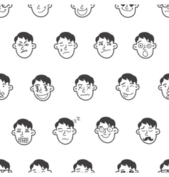 Cute doodle boy heads seamless pattern vector